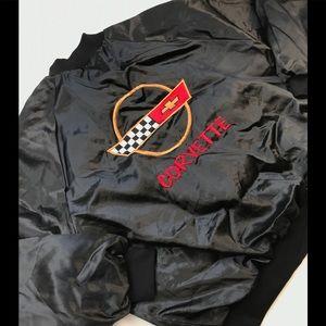 VINTAGE CORVETTE SATIN JACKET XXL 2XL BOMBER 80s